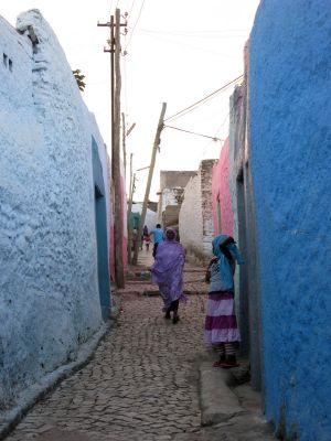 Façades colorées dans une ruelle de la vieille cité, Harar