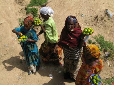 Des vendeuses profitent de l'arrêt du bus pour proposer leurs fruits